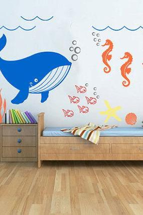 baby nursery decal -Underwater Seaweed Fish Sea Star Seashell Whale Seahorse-animal decals - home Decals - kids Wall Sticker - stickers Rk14