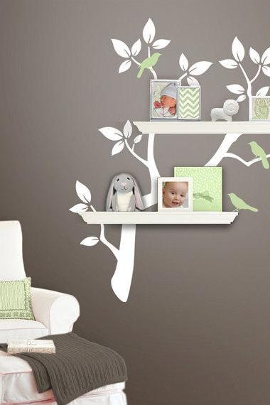 wall decal birds sheving tree branch with bird leaf shelf nursery vinyl home Decals Wall Sticker stickers kids baby room bed kid R629