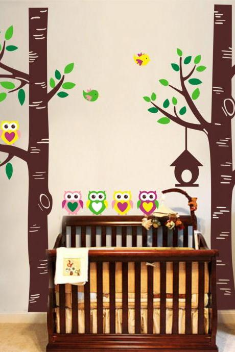 Vinyl Wall Decal two birch Tree forest with owl family leaf bird owls home house Art wall Decals Wall Sticker stickers baby room kid R814