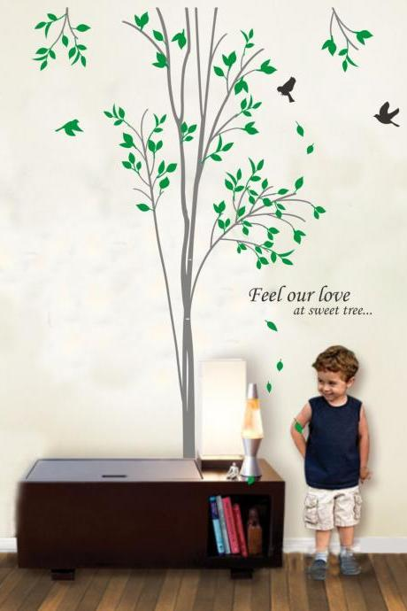 Vinyl Wall Decal spring Tree with leaves flying birds trees bird leaf home house Art wall Decals Wall Sticker stickers baby room kid R813