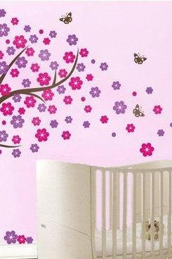 cherry blossom wall decal butterfly Blowing flower Tree trees nursery kids room vinyl Decals home Wall Sticker stickers bed baby room R667