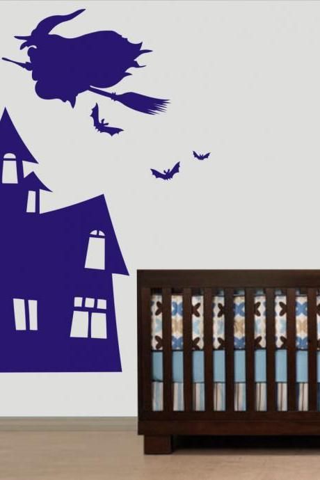 Vinyl Wall Decal Witch with Broom flying on Castle kid bird birds home house Art wall Decals Wall Sticker stickers baby room kid R598