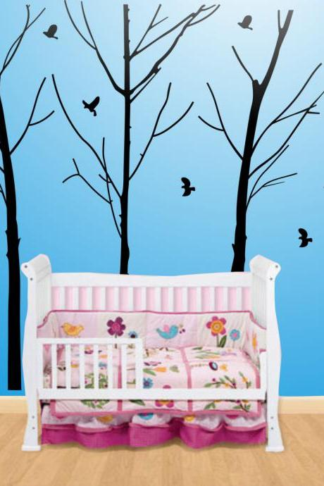 Vinyl Wall Decal winter four tree with birds without leaves home house Art wall Decals Wall Sticker stickers baby room kid R563