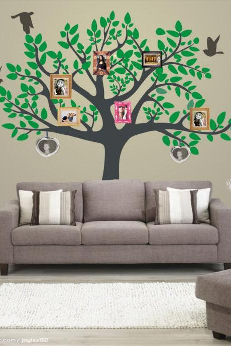 personalized family tree decal vinyl wall decal photo leaf photos tree with birds Decals home Wall Sticker stickers baby removable R584
