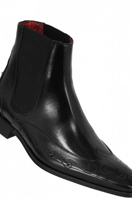 MEN HANDMADE BLACK GENUINE LEATHER BOOTS, MEN ANKLE-HIGH BLACK DRESS AND CASUAL LEATHER BOOTS