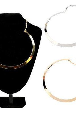 Fashion Slim Curved Metal Mirrored Pendant Choker Collar Bib Statement Necklace