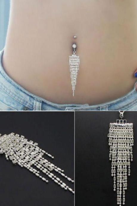 316L Surgical Steel Tassel Chain Dangle Navel Belly Button Ring Bar Piercing