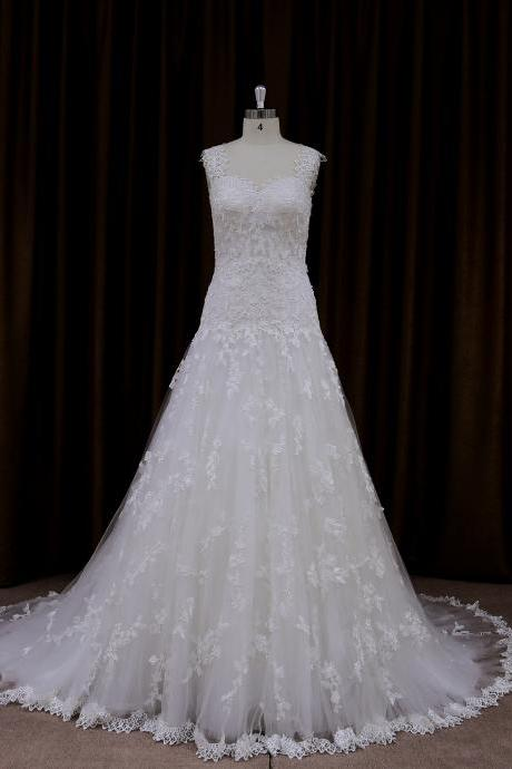 All Over Lace A Line Chapel Train Wedding Dress With V Back