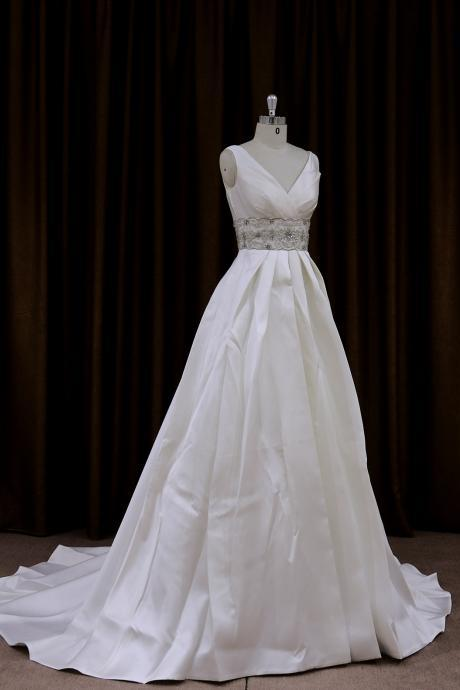 2015 Satin V Neck Beaded A Line Wedding Dress With Chaple Train
