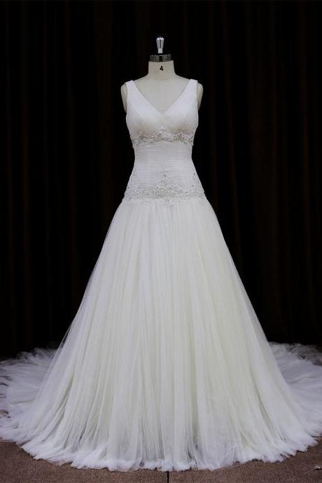 Tulle V Neck A Line Chapel Train Wedding Dress With Low Back