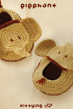 CROCHET PATTERN Elephant Baby Booties - Photo, Chart & Written Pattern