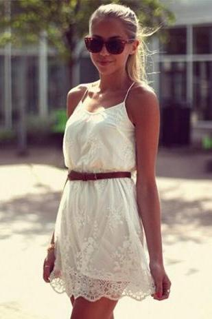 Fashion Lace Embroidery Sling Dress