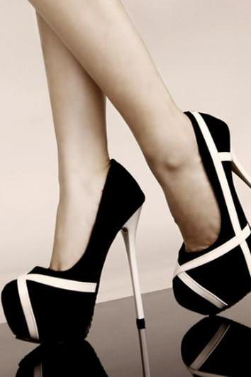 Women's Stripes Print High Heels Platforms