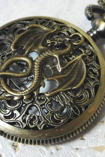 Retro Dragon Brass pocket watch round copper necklace pendant jewelry vintage victorian style