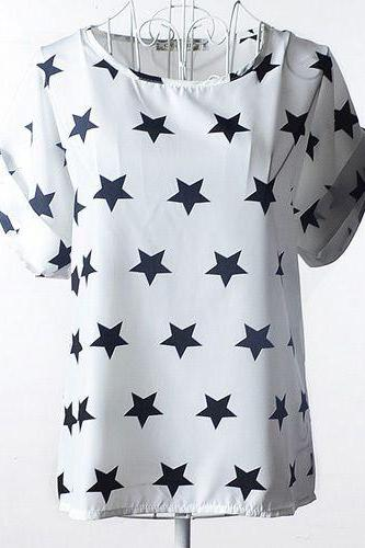 Black stars on white Print Shirt Summer Tee Girl Top