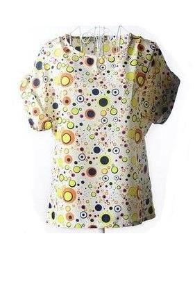 ColorfulDots rayon Print Shirt Summer Tee Girl Top