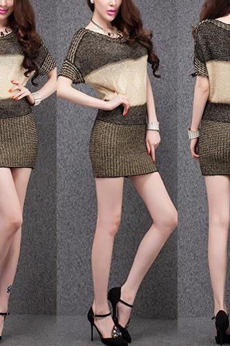 Fashion Round Neck Short Sleeve Contrast Color Knitted Dress