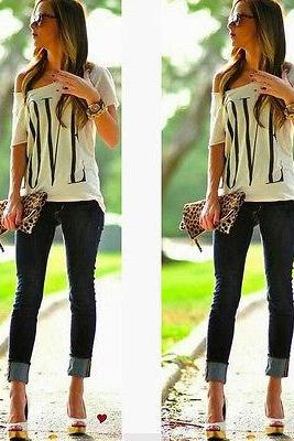Fashion Womens Summer Casual LOVE Letter Print Blouse Short Sleeve T Shirt Tops