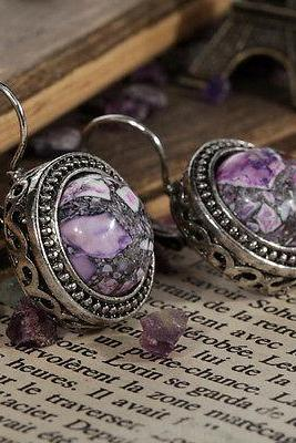 Pretty Fashion Design Jewelry Purple Turquoise Inlay Tibetan Sliver Earrings