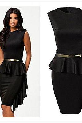 Black Sleeveless Peplum Short Guest Wedding Dress with Metallic Gold Belt