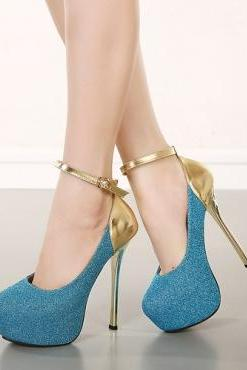 Cheap Fashion Round Closed Toe Patchwork Buckle Design Stiletto Super High Heel Blue PU Ankle Strap Pumps
