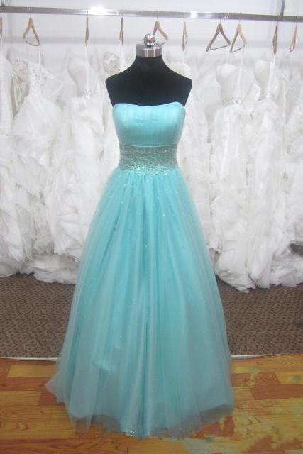Pretty Blue Handmade Tulle Long Prom Gown 2015, Blue Prom Dresses, Formal Gown, Evening Dresses