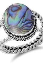 Beautiful Abalone Shell Stone Set in Sterling Silver Sizes 6-8