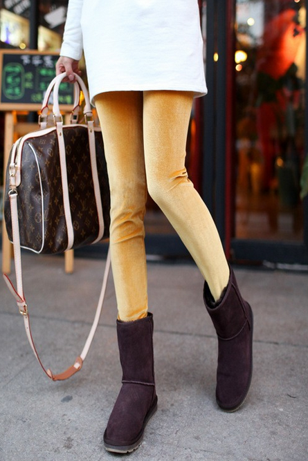 *Free Shipping* Cashmere Woman Leggings & Leggins Casual Warm Winter Leggings Pencil Pants Gold Velvet Leggings