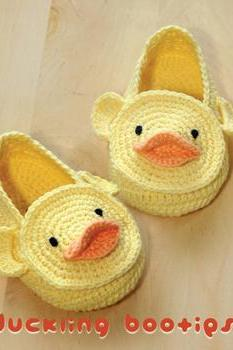 CROCHET PATTERN Duck Duckling Baby Booties , Chart & Written Pattern by kittying