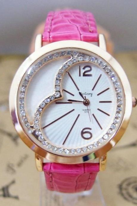 Heart pink Rhinestones Leather Strap Girl Watch