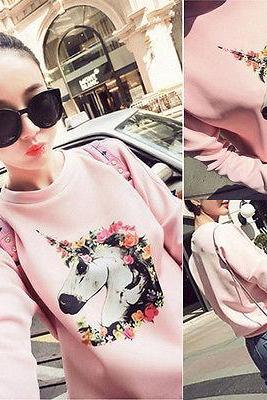 Women Round Neck Long Sleeve Printed Pullover Jumper Loose Tops Blouse Sweater