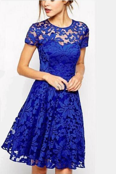 Fashion round neck short-sleeved lace dress SF30807JL