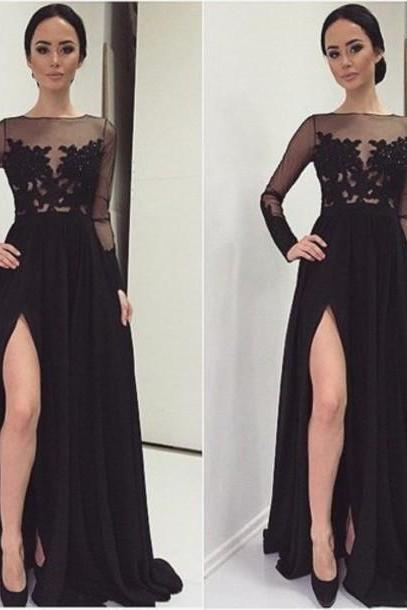 Sexy Black Appliques Prom Dresses, O-Neck Prom Dresses, Real Made Prom Dresses,Chiffon Prom Dresses On Sale