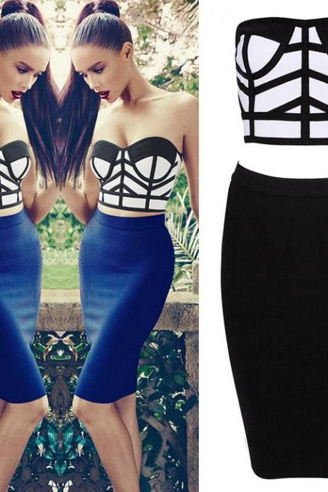 New Women's Two Pieces Stylish Sleeveless Bralet Bustier Tops + Pencil Skirt Set