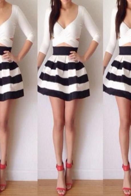Fashion Sexy Women's Bandage Bodycon Long Sleeve Evening Party Cocktail Striped Mini Short Dress