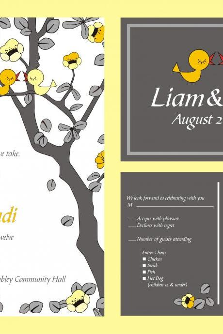 Custom personalized Wedding Invitations- with love birds in a tree grey and yellow budget invitations