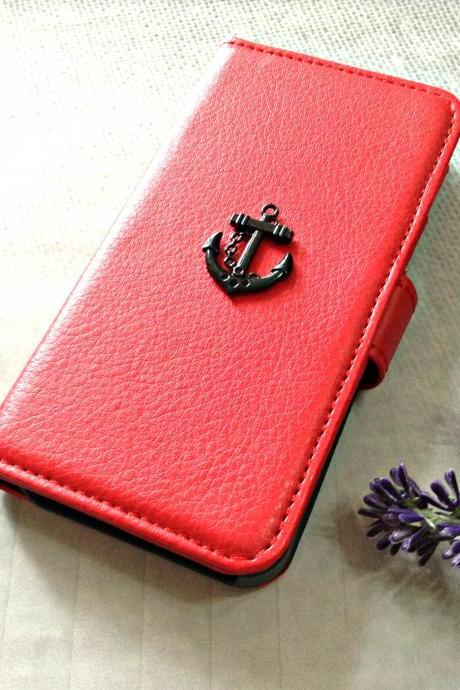Anchor iPhone 6 wallet case, iPhone 6 plus wallet case, iPhone 5 5s 5c wallet cases, Samsung galaxy S5 S4 S3 wallet case, Samsung galaxy note 4 note 3 cases