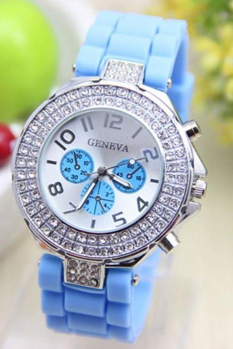 Rubber sky blue Band Rhinestones Design Unisex Teen Watch