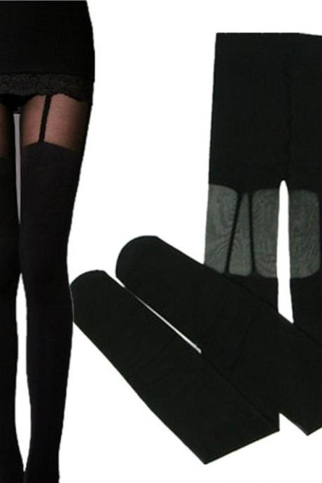 Sexy Fashion Vintage Stockings tattoo pantyhose print punk stockings (Size M; Color Black)