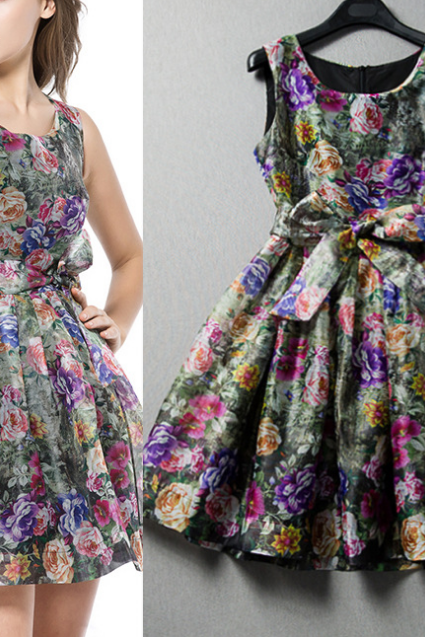 2015 stereo flower printed sleeveless dresses