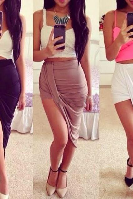 Fashion asymmetric mosaic color skirt