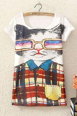 New Vintage Womens Short Sleeve Cartoon Mr Cat Graphic Printed T Shirt Tops Tee