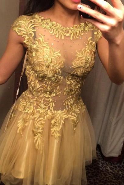 New Arrival Champagne Tull and Lace Short Prom Dresses, Homecoming Dresses,Graduation Dresses