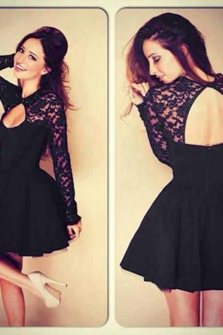 Women Sexy Stitching Lace Backless Long-sleeved Dress Evening Party Cocktail Dress