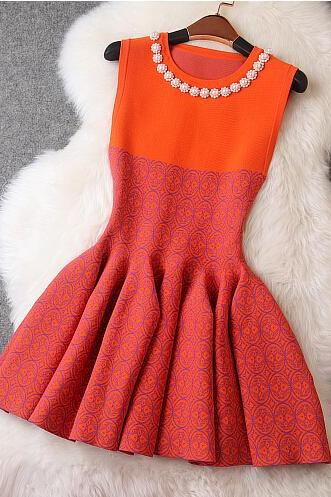 Fashion Beads Elastic Dress