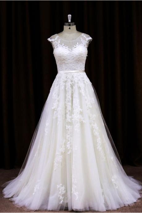 2015 Tulle A Line Cap Sleeves Wedding Dress With Sheer Back