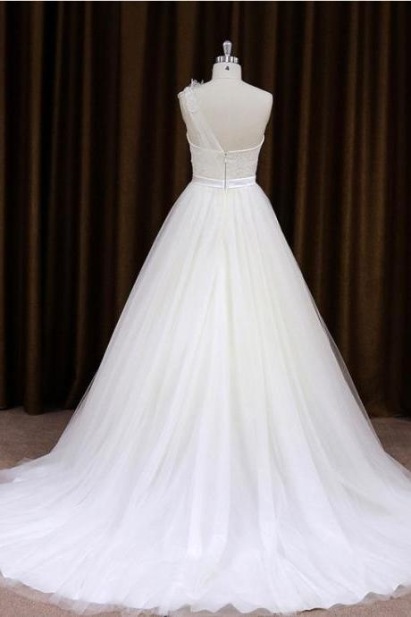2015 Tulle Sheer One Shoulder A Line Wedding Dress With Court Train
