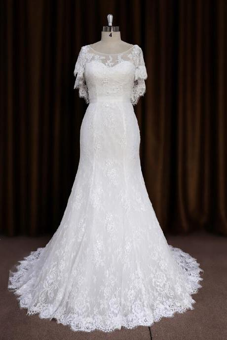 2015 Fairy Lace Fit And Flare Cap Sleeves Wedding Dress With V Back