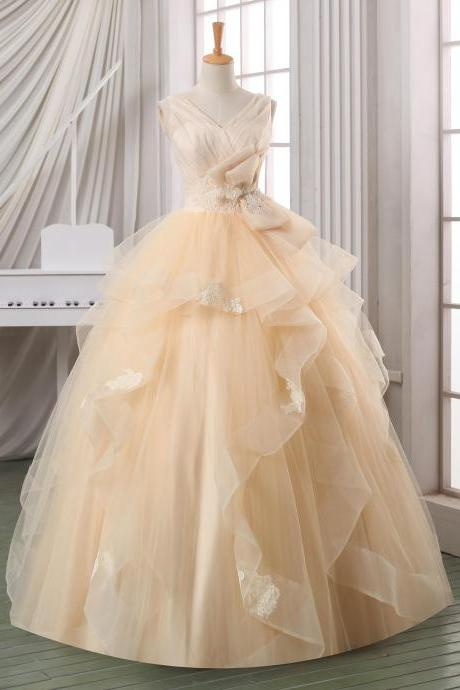 Ball gown backless wedding dress,pleated tulle V neck wedding dress,plus size wedding dress,cheap wedding dress,wedding gown,bridal dress.