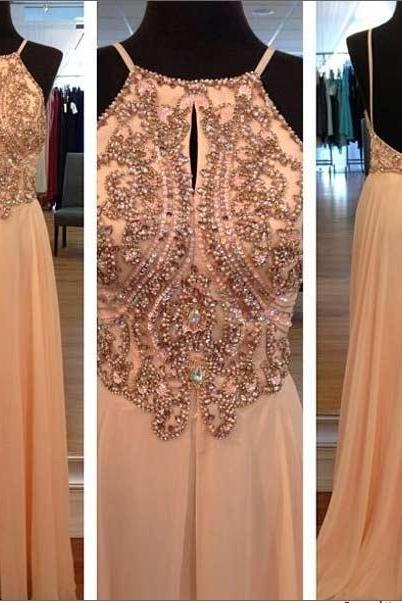 Light Peach Long Prom Dresses, Straps Prom Gowns,Beaded Evening Dresses, Backless Evening Gowns, Cocktail Dresses Custom